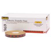 3M 969 Adhesive Transfer Tape 1/4 x 18 Yds 5 Mil Clear, Pack of 6