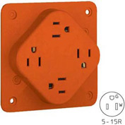 Bryant 1254igob Quadplex®Receptacle, 15a, 125v, Orange - Pkg Qty 100