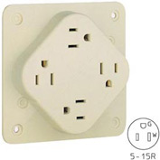 Bryant 1254SIA QUADPLEX®Receptacle, 15A, 125V, Ivory, Hospital, Isolated Ground