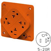 Bryant 21254HIGO QUADPLEX®Receptacle / 20A / 125V / Orange / Hospitla / Isolated Ground