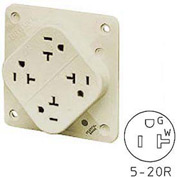 Bryant 21254HIL QUADPLEX®Receptacle, 20A, 125V, Ivory, Hospital, Wire Leads