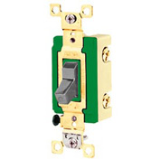 Bryant 3003GRY Industrial Grade Toggle Switch, 30A, 120/277V AC, Three Way, Gray