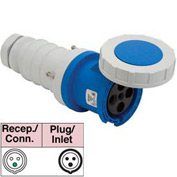 Bryant 3100C6W Connector, 2 Pole, 3 Wire, 100A, 250V AC, Blue