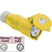 Bryant 316C4S Splashproof Connector, 2 Pole, 3 Wire, 16A, 100-130V AC, Yellow