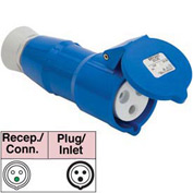 Bryant 316C6S Splashproof Connector, 2 Pole, 3 Wire, 16A, 200-250V AC, Blue