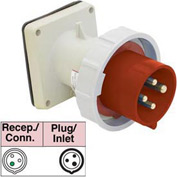 Bryant 320B7W Inlet, 2 Pole, 3 Wire, 20A, 480V AC, Red