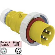 Bryant 320P4W Plug, 2 Pole, 3 Wire, 20A, 125V AC, Yellow