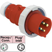 Bryant 320P7W Plug, 2 Pole, 3 Wire, 20A, 480V AC, Red