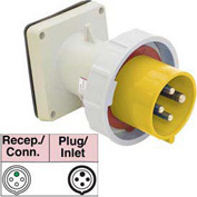 Bryant 330B4W Inlet, 2 Pole, 3 Wire, 30A, 125V AC, Yellow