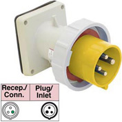 Bryant 332B4W Inlet, 2 Pole, 3 Wire, 32A, 100-130V AC, Yellow