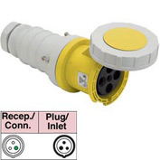 Bryant 332C4W Connector, 2 Pole, 3 Wire, 32A, 100-130V AC, Yellow
