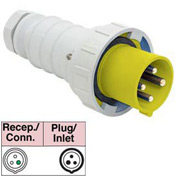 Bryant 332P4W Plug, 2 Pole, 3 Wire, 32A, 100-130V AC, Yellow