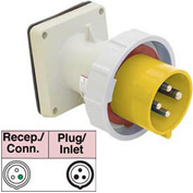 Bryant 360B4W Inlet, 2 Pole, 3 Wire, 60A, 125V AC, Yellow