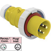Bryant 360P4W Plug, 2 Pole, 3 Wire, 60A, 125V AC, Yellow