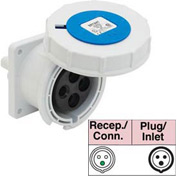 Bryant 363R6W Receptacle, 2 Pole, 3 Wire, 63A, 200-250V AC, Blue