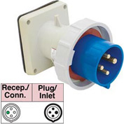 Bryant 4100B9W Inlet, 3 Pole, 4 Wire, 100A, 3ph 250V AC, Blue