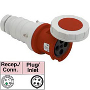 Bryant 4100C7W Connector, 3 Pole, 4 Wire, 100A, 3ph 480V AC, Red