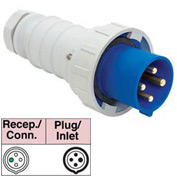 Bryant 4100P9W Plug, 3 Pole, 4 Wire, 100A, 3ph 250V AC, Blue