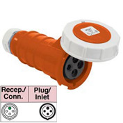 Bryant 420C12W Connector, 3 Pole, 4 Wire, 20A, 125/250V AC, Orange