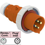 Bryant 420P12W Plug, 3 Pole, 4 Wire, 20A, 125/250V AC, Orange
