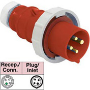 Bryant 420P7W Plug, 3 Pole, 4 Wire, 20A, 3ph 480V AC, Red