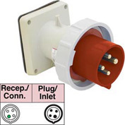 Bryant 430B7W Inlet, 3 Pole, 4 Wire, 30A, 3ph 480V AC, Red