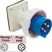 Bryant 430B9W Inlet, 3 Pole, 4 Wire, 30A, 3ph 250V AC, Blue