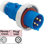Bryant 430P9W Plug, 3 Pole, 4 Wire, 30A, 3ph 250V AC, Blue
