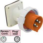 Bryant 460B12W Inlet, 3 Pole, 4 Wire, 60A, 125/250V AC, Orange
