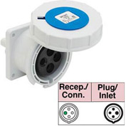 Bryant 460R9W Receptacle, 3 Pole, 4 Wire, 60A, 3ph 250V AC, Blue