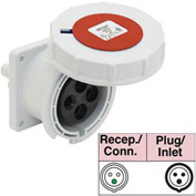 Bryant 463R6W Receptacle, 3 Pole, 4 Wire, 63A, 380-415V AC, Red