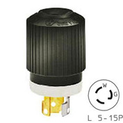 Bryant 4721NP TECHSPEC® Plug, L5-15, 15A, 125V, Black/White