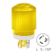 Bryant 4721NPCR TECHSPEC®Plug, L5-15, 15A, 125V, Yellow/White