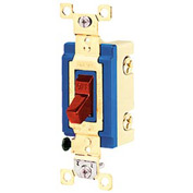 Bryant 4801BRED Industrial Grade Toggle Switch, Single Pole, 15A, 120/277V AC, Red