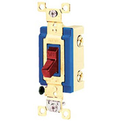 Bryant 4801RED Industrial Grade Toggle Switch, Single Pole, 15A, 120/277V AC, Red