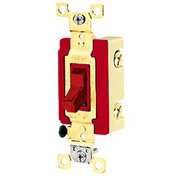 Bryant 4901BRED Industrial Grade Toggle Switch, Single Pole, 20A, 120/277V AC, Red