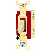 Bryant 4902W Industrial Grade Toggle Switch, Double Pole, 20A, 120/277V AC, White