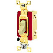 Bryant 4903GLI Toggle Switch, Three Way, 20A, 120/277V AC, Glow Handle, Ivory