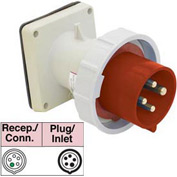 Bryant 5100B7W Inlet, 4 Pole, 5 Wire, 100A, 3ph Y 277/480V AC, Red
