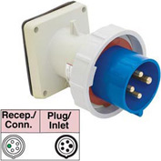 Bryant 5100B9W Inlet, 4 Pole, 5 Wire, 100A, 3ph Y 120/208V AC, Blue