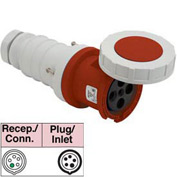 Bryant 5100C7W Connector, 4 Pole, 5 Wire, 100A, 3ph Y 277/480V AC, Red