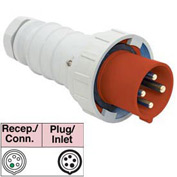 Bryant 5100P7W Plug, 4 Pole, 5 Wire, 100A, 3ph Y 277/480V AC, Red