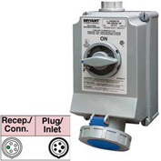 Bryant 5100SMI9W Mechanically Interlocked, 4 Pole, 5 Wire, 100A, 3ph Y 120/208V AC, Blue