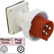 Bryant 5125B6W Inlet, 4 Pole, 5 Wire, 125A, 200/346, 240/415V AC, Red