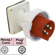 Bryant 516B6W Inlet, 4 Pole, 5 Wire, 16A, 200/346, 240/415V AC, Red