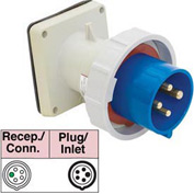 Bryant 520B9W Inlet, 4 Pole, 5 Wire, 20A, 3ph Y 120/208V AC, Blue