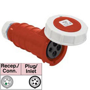 Bryant 520C7W Connector, 4 Pole, 5 Wire, 20A, 3ph Y 277/480V AC, Red