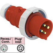Bryant 520P7W Plug, 4 Pole, 5 Wire, 20A, 3ph Y 277/480V AC, Red