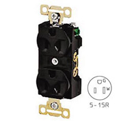Bryant 5242BLK Heavy-Duty Duplex Receptacle, 15A, 125V, Black, Self Ground