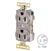 Bryant 5242GRY Heavy-Duty Duplex Receptacle, 15A, 125V, Gray, Self Ground